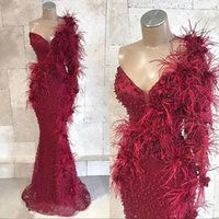 2020 New Burgundy Mermaid Prom Dresses Evening Gowns One Shoulder Lace Beads 3D Floral Appliqued Floor Length Black Girls Party D