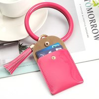 Storage Bags 50Pcs Lot Keychain Bracelet Wristlet Bangle Bright Faux Leather Women Girls Mini Purse Tassel Solid Color Key Chain Coin Pouch