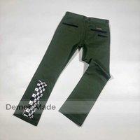 Ch Croxine pantalon décontracté salopie armée vert mattyboy graffiti jeans mille yeux de pantalon droit