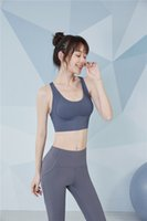 FBF20843 Femmes Tenue de yoga Sports Bleu Sports Soutien-gorge non amovible Exercice de course à pied T-shirts 3 couleurs