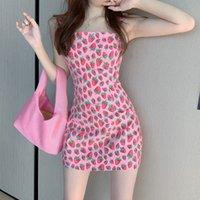 Casual Dresses Summer Sweet Strawberry Print Bag Hip Strap Dress Women's Waist Slim Platycodon Short Skirt