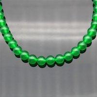 Мода Женский натуральный 8 мм зеленый нефритовый круглый драгоценные камни бусины ожерелье 50 '' Long 846 Q2