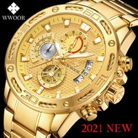 WWOOR 2021 Männer Uhren Top Feuer Luxus Gold Rustlose Stahl Quarz Wasserdichte Sport Chronographie Relogio Masculino