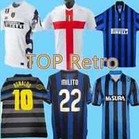 2007 08 Inter troisième soccer rétro Jerseys Figo Ibrahimovic Materazzi 97 Chemise classique J.Zanetti Adriano Vieira Balotelli Vintage Jerse 98 99