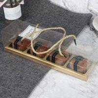 المحمولة شفافة كعكة كب كيك لفة صناديق مع مقبض الحيوانات الأليفة التعبئة والتغليف الحلوى حاوية حامل حزب التعبئة هدية مربع RRD7514