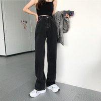 Frauen Jeans Guuzyuviz Lose Frau Casual Vintage Unregelmäßige Denim Mutter Frauen Koreanische Hohe Taille Wash Pocket Botton Overalls 2021