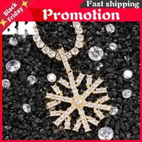 Pendant Necklaces The Bling King Custom Christmas Tree Snowflakes Necklace Hop Full Iced Out Cubic Zirconia Gold Plated Cz Stone