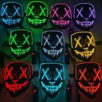 Máscara de horror de Halloween LED Máscaras resplandecientes Purgar SHIELD ELECTORIO ELECCIÓN DESPUÉS DE LASPUSE DJ FIEMBIO LUZ DE LUZ EN LUZ EN DARK DARK 10 COLORES