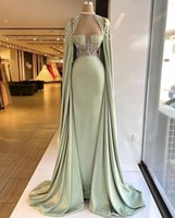 Elegant 2022 Long Evening Dresses With Cape Beaded Crystal Formal Prom Gowns Custom Made Plus Size Pageant Wear Party Dress