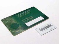 Hohe qualität grüne sicherheit garantie karten kunststoffuhr travel boxen karte 3d benutzerdefinierte druckmodell serielle nummer gravur preis tags für rolexuhren