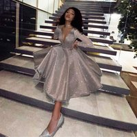 Fashion Sparkling Evening Dress 2021 Robe Longue V-neck Long Sleeves Medium Length Party Dresses Prom Gowns