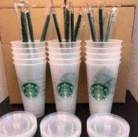 DHL Livraison GRATUITE Starbucks 24oz / 710ml Table en plastique Réutilisable Clear Clair Coupe Appartement Coupe Pilier Couvercle Couvercle Tasse de paille Bardian 50pcs