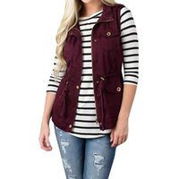 Women's Vests 2021 Fall Coat Vest Sleeveless Pocket Waistcoat Jacket Turn-Down Collar Casual Zipper S-2Xl Fashion Trench Coats