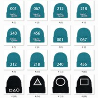 16 Styles Newarrival Beanies Korean Drama Knitted Hat Square Squid Game Embroidery Round Cuffed Winter Triangle Keep Warm Wool Cap Black Beanie Explosion X1013E