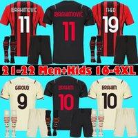 Homens + Crianças AC 21 22 Ibrahimovic Milão Futebol Jersey Brahim Bennacer Kessie Romagnoli 2021 2022 Home Away 3ª Camisa de Futebol Tonali Rebic Maillot