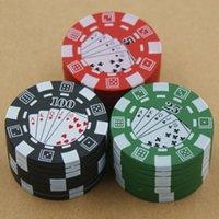 Metall-Tabak-Schleifmaschinen Poker-Chip-Stil Zink-Legierungs-Raucher-Zubehör 3-Schichten Gewürzpollenpresse Sharpstone Crusher Kräuter-Rauchschleifer-Zigarettenschredder