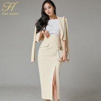 Han Kraliçe Kadınlar OL İş Giyim 3 Parça Set Dibe Gömlek Blazer Bölünmüş Kılıf Kalem Bodycon Etek Ofis Bayan Takım İki Parça Elbise