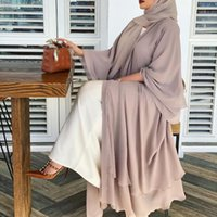 Solide offene abaya kimono dubai türkei kaftan muslim cardigan abayas kleider für frauen beiläufige robe femme caftan islam kleidung ethnisch