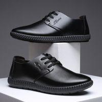 2021 최신 남성용 가죽 드레스 신발 가을과 겨울 레저 소프트 솔 표면 청소년 통기성 신발 크기 39-44