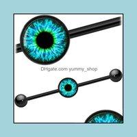 & Tunnels Body Jewelrysurgical Steel 14G Punk Plugs Eye Industrial Barbells Helix Blue Eyes Earring Ear Cartilage Piercings Fashion Jewelry