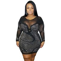 Women's Sexy Plus Size Long-sleeved Rhinestone Mesh See-through Tight-fitting Party Club & Night Out Mini Dress Clothing Casual Dresses