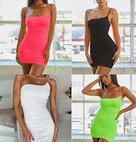 드레스 여성 의류 2021 섹시 한 어깨 서스 던 렌드 주름진 조끼 치마 여성의 착용
