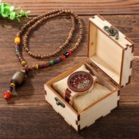 Wristwatches Luxury Wood Watch Necklace Set For Men Mechanical quartz Wristwatch With Transfer Bead Necklaces In A Wooden Box Gifts Lover