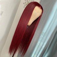 Средняя часть Темное вино 26 дюймов Длинные шелковистые прямые кружевные фронт фронт синтетические волосы безразличны.