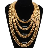 8mm 10mm 12mm 14mm 16mm Chain Stainless Steel Jewelry 18K Gold Plated High Polished & Cubic Zirconia Clasp Miami Cuban Link Necklace Men Chains