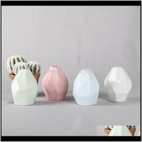 Décor Garden Drop Delivery 2021 Creative Tabletop Vases Ceramic Polyhedron Shaped Flower Pots Mini Vase For Home Decor 9Cm Height High Qualit