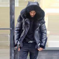 الرجال جاكيتات سترة معطف الرجال الفراء الشرير نمط التسوق الخريف والشتاء الجلود الجلد المدبوغ فو ملابس رجالي