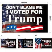 3 x 5ft elegante Blu e Red Trump Bandierina 150 x 90cm Elezione presidenziale degli Stati Uniti Accessori decorativi per banner decorativi all'aperto