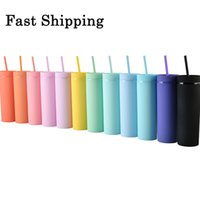 16oz Acrylic Straight Tumbler Multi-color Plastic Skinny Tumblers Outdoor Travel Car Cup Wedding Gift