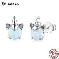 Gomaya 100 % 925 스털링 실버 유니콘 오팔 스터드 귀걸이 여성을위한 결혼식 작은 귀걸이 좋은 기념일 쥬얼리 210609