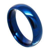 결혼 반지 커플에 대 한 6mm / 8mm 블루 컬러 텅스텐 맞춤형 높은 닦는 돔 밴드 깡통 달 수 있음 / 기호,