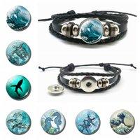 Mer Animal Bijoux Tortue Seahorse Dolphin Verre Dôme Snap Bouton Bouton Bracelet Noir MultiLouche En Cuir Bracelet Accessoires de mode