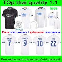 The Thai Real Madrid Abard Soccer Jerseys 21 22 Sergio Ramos 2021 Benzema ISCO KROOS MARIANO HOME 멀리 3 축구 셔츠 팬 및 Palyer 버전 사용자 정의 이름