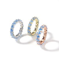 Iced Out Tennis Ring Shinny One Row for Men and Women CZ Zircon Plated Blue Stone Hip Hop Jewelry
