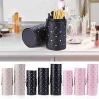 Fashion Holder Cup w Buckle Case PU Leather Travel Pen Storage Cosmetic Brush Bag Brushes Organizer Makeup Tools