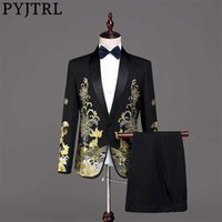 PYJTRL Men Fashion Gold Embroidery Suits White Black Red Prom Dress Stage Singers Costume Wedding Groom Tuxedo Jacket With Pants X0909
