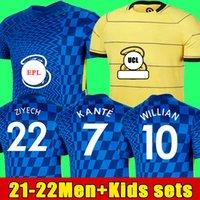 تايلاند 21 22 22 فيرنر Havertz Chilwell Ziyech Soccer Jerseys 2021 2022 pulisic home الأزرق بعيدا الأصفر كرة القدم قميص كانتي جبل الرجال الاطفال مجموعة أطقم tops123