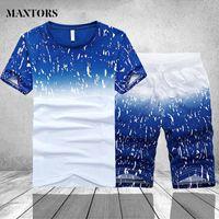 Men's Tracksuits Tracksuit Men Summer Short Sleeve Casual Tshirt Shorts Mens Sweatsuit 2PC Tee Tops+Sweatpant Male Set Moleton Masculino 3XL