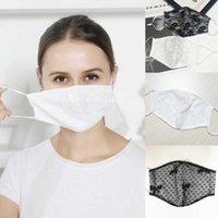 Spitze Maske Doppelschicht Atmungsaktive dünne Gesichtsmaske Outdoor Frauen staubdichte hängende ohrmaske Designer Masken Baumwolle FY0055
