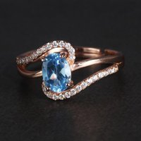 Cluster Rings Genuine Solid Sterling Silver 925 Ring Ladies Oval Topaz For Women Designer Jewelry Luxury Adjustable Size Wholesale