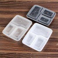 Dinnerware de plástico reutilizável bento caixa refeição refeição alimentos preparar lancheira caixas 3 compartimento recipiente casa lunchbox mar transparente fwb9633