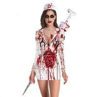 Bloody Nurse Role-play Dress for Women Halloween Scary Horror Cosplay Costumes 2019 Sexy Mini Dress Gothic Medieval Clothing