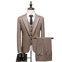 İngiliz Erkek Düğün Smokin Kaki Ekose Slim Fit Suits Ofis İş Adam 3 Adet Blazer Set Örgün Parti Balo Kostüm Terno Erkek erkek Blaz