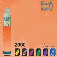 FUMOT ORIGINAL R & M Dazzle Desechable E Cigarette R RANDM RGB Luz Brillante Vape Vape POD Dispositivo 2000 Puffs