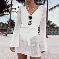 Women's Swimwear Knitted Beachwear Crochet Beach Dress Women V Neck Maxi Swimsuit Cover Up Summer Bikini