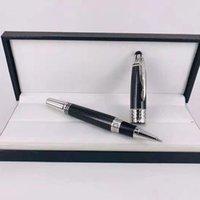 Giftspen Luxus hochwertiger schwarzer Kohlenstoff-Fibra-fesslicher Stift Rolelrball-Kugelschreiber mit Carving-Markenprodukt